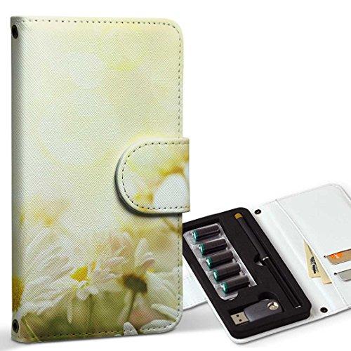 スマコレ ploom TECH プルームテック 専用 レザーケース 手帳型 タバコ ケース カバー 合皮 ケース カバー 収納 プルームケース デザイン 革 フラワー 白 花 フラワー 005332