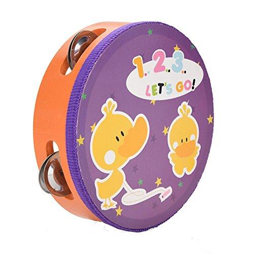 Fafeims Pandereta de Madera, Práctico Duradero Panderetas para niños, 15 cm Pandereta de Mano de Madera Tambor de Mano Musical Musical Instrumento de percusión Juguete de Regalo(2#)