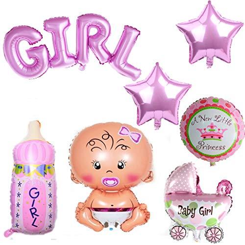 Crazy-m 7 Stück Heliumballon Baby Folienballon Baby Dusche Dekoration Rose,Babyshower It's a Girl Babyparty Party und Dekoration (Mädchen)