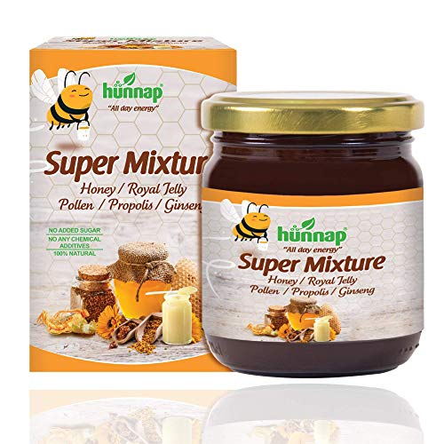 Hunnap All Natural Honey Super Mixture for Everyday Support | Enriched with Ginseng Extract, Royal Jelly, Propolis & Pollen | Natural Fuel for Body and Mind | Immunity Booster