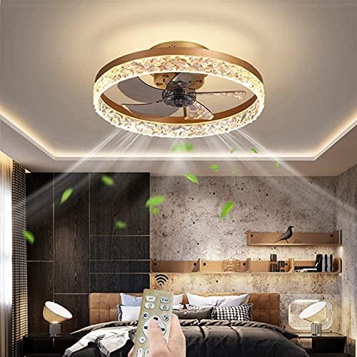 Ventilador de techo LED con luces de bajo perfil Techo Techo Ventilador remoto Cristal de acrílico Acrílico Acrílico Ventilador Luz Ajustable Velocidad Ajuste Montaje Moderno Techo Ventilador Formacio