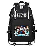 ZZGOO-LL One Piece Monkey·D·Luffy/Franky Anime Cosplay Bookbag College Bag Mochila Mochila Escolar con Puerto de Carga USB-A