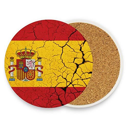 Bandera de España con emblema redondo, absorbente, de cerámica, posavasos para bebidas, tazas de café, juegos para el hogar, oficina, bar, cocina (juego de 1), cerámica, multicolor, Set of 1