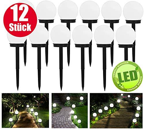 Solarleuchte Solar - 12 Stück - Energie durch sparende LED Solarlampen - Gartenleuchte - Auto EIN/Aus - Solarlampe Kugel Ø10cm Ideal für Terrasse, Rasen, Garten oder Wege