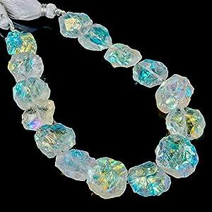 180 Carats Angel Aura Quartz Crystals, Mystic Aura Quartz, Rough Coins Strand, Crystals for Jewelry, Loose Beads Strand, 12+ Beads