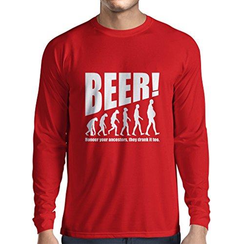 Langarm Herren t Shirts Die Beervolution - einzigartige lustige sarkastische Geschenkideen für Bierliebhaber, trinkende Evolution (Large Rot Weiß)