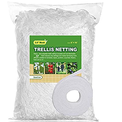 "BaseGoal All-Weather Trellis Netting Mesh Plant Garden Vine Growing Flexible String Net (3.5"" Mesh, 5' x 15'-1Pack)"