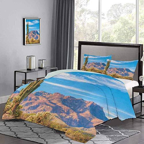 UNOSEKS LANZON - Juego de colcha para paisaje de montaña, sol, cactus desierto, arbustos botánicos, cielo con nubes, imagen de arte, juego de cama de lujo, fresco, ligero, multicolor, tamaño doble