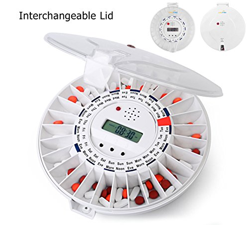LiveFine Automatic Pill Dispenser W/Solid & White Lids...