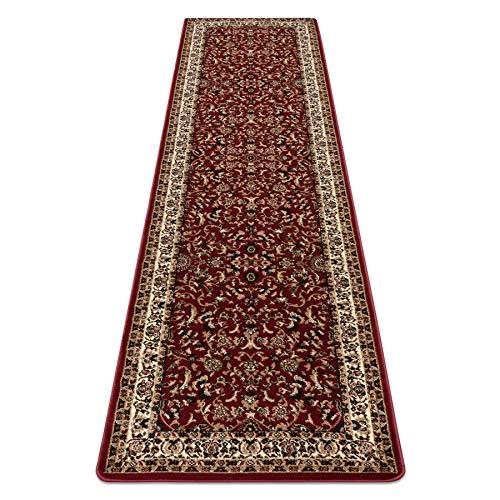 Passatoia corridoio, Tappeto Royal ADR, Classico, Tradizionale, per Il corridoio, la Hall, la Sala, di Alta qualità Rosso 70x250 cm