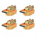 Lechnical Cinghie di Ancoraggio a cricchetto 4 Pezzi 2 tonnellate enormemente robuste con Coda Cinghie di Ancoraggio con cricchetto con Cinturino a cricchetto Gancio 8m×50 mm Arancia