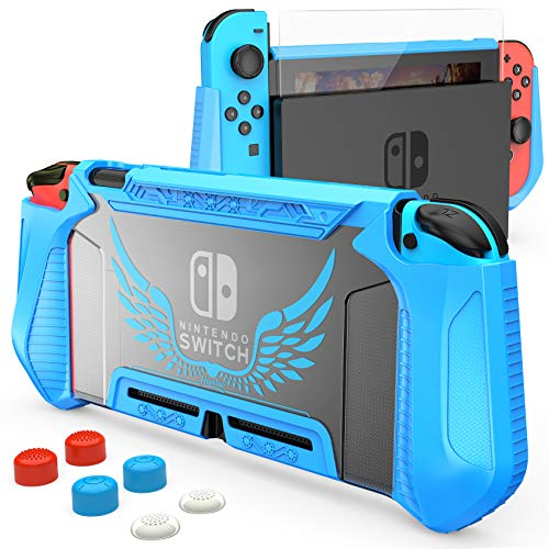 HEYSTOP Case Compatible with Nintendo Switch Case Screen Protector,TPU Protective Heavy Duty Cover Case for Nintendo Switch with Shock Absorption and Anti-Scratch (Blue)