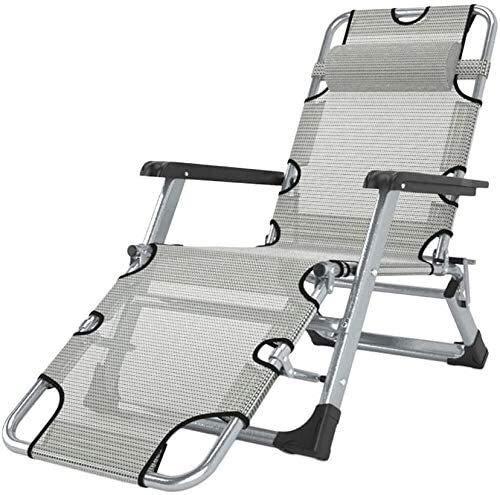 Office Life Mecedora de jardín extragrande reclinable con cojines para personas pesadas - Soporte de asiento de balancín plegable para exteriores con patio de patio200kg (Color: Plateado sin cojine