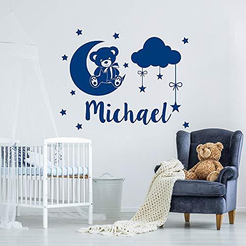 jiuyaomai Nombre de los niños Tatuajes de Pared Nubes de Oso Estrellas Pegatinas para niños Dormitorio Extraíble Personalizado Calcomanías Personalizadas Mural73x57cm