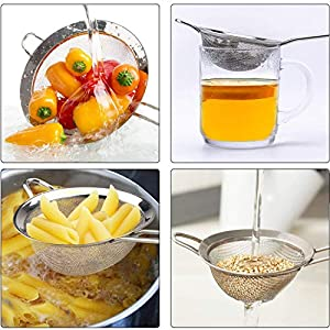 Wellehomi Premium Fine Mesh Strainers - Stainless Steel Kitchen Fine Sieves Strainers with Long Handles - Set of 3 for… |