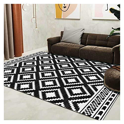 GJCC Black White Geometric Area Rugs for Living Room Bedroom Hallway Non-Slip Carpets Home Decor Floor Rug Machine Washable,4