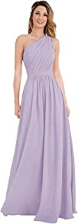 Beautiful Bride Women's One Shoulder Bridesmaid Dresses Chiffon Pleated Long Prom Party Gowns