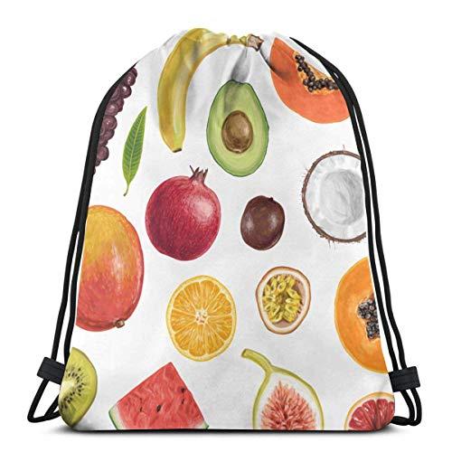 Lsjuee Mochila con cordón Bolsas Que Caen Frutas de Verano Dibujadas a Mano Mochila Ligera de Almacenamiento de Cuerdas para Senderismo para Mujer