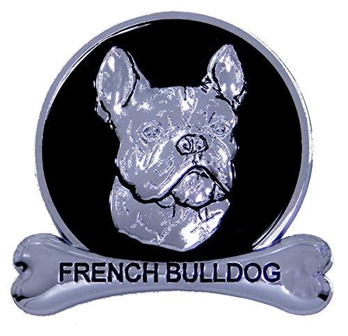 French Bulldog Frenchie Chrome Dog Medallion Car Emblem Logo Badge Breed Ornament Decal Gift Truck SUV