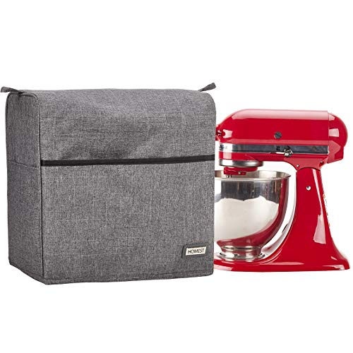 HOMEST Stand Mixer Dust Cover for KitchenAid Mixer, Fits All Tilt Head 4.5-5 Quart, Multi Pockets for Various Kitchen Appliance Accessories, Grey