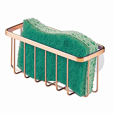 InterDesign Gia Suction Kitchen Sink Caddy, Sponge Holder for Kitchen Accessories - Copper (84709)