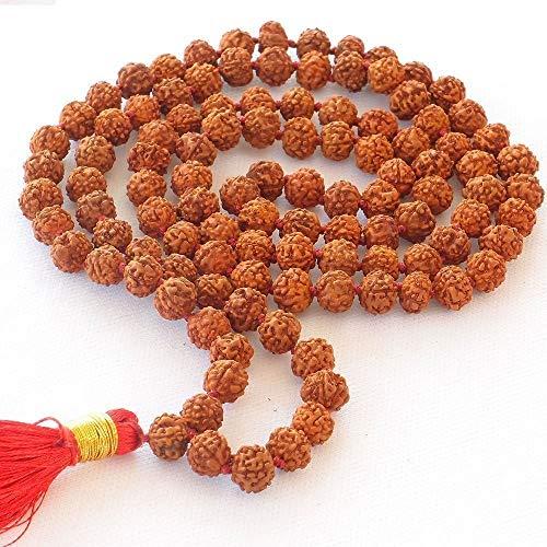 Storite Himalaya Rudraksha Mala 108Cuentas Collar, Seed Bead Natural del Himalaya Semillas de Rudraksha Cuentas de oración Pulsera Mala Wrap Pulsera Bead tamaño 9mm
