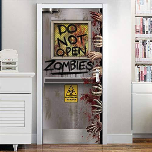 Jamicy  2 pegatinas para puerta o ventana de cristal, para decoración de Halloween con miedo sangriento, creativas y divertidas, pegatinas de pared para puerta o fiesta, de madera