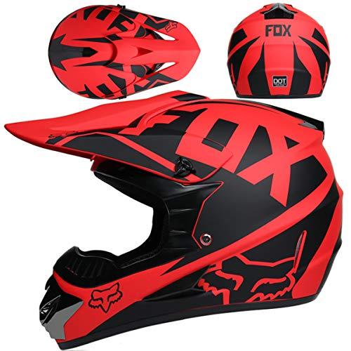 Motocross Helm,Motorrad Crosshelm für Mountainbike ATV BMX Downhill Offroad,Für Motorrad Crossbike Enduro Sport Jugend Motocross Helm Kinder Motorrad Fahrrad Helm,Matt Schwarz Rot Fox,L: 56~57 cm