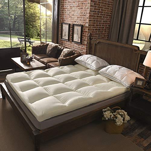 YLCJ Dik matras dekking voor slapen, pure kleur Schotse Tatami matras, dubbel kussen voor slapen laptop -C 150 * 200 cm (59x79 inch)