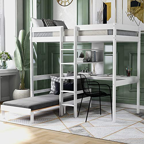 Merax Twin Loft Bed with Desk, Futon Bunk Bed with Desk and Bookshelf, Convertible Twin Over Twin Loft Bunk Beds for Girls and Boys, Space Saving, Wood, White