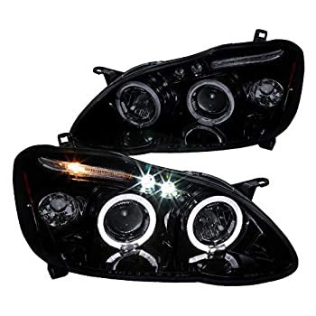 Spec-D Tuning Halo Led Smoke Lens Glossy Black Housing Projector Headlights for 2003-2008 Toyota Corolla Dual Head Light Assembly Left + Right Pair