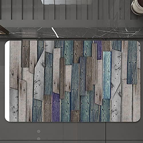 Alfombrilla de Baño Antideslizantes de 50X80 cm,Puesto de madera, tablones rústicos grises a, Tapete para el Piso Lavable a Máquina con Microfibras Suaves Absorbentes de Agua para Bañera, Ducha y Baño