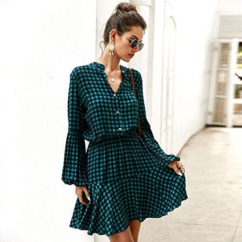 Generic Brands Casual Volants Robe à Carreaux Femmes col Montant Lanterne Manches Simple Boutonnage Printemps été Robe S Vert