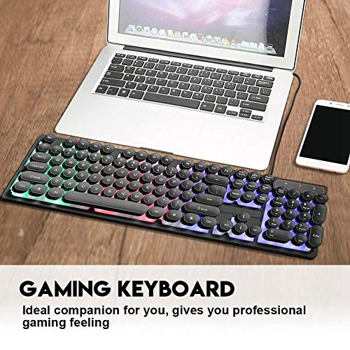 Bewinner Gaming Keyboard UK, USB Wired Gaming Keyboard V8 Retro Punk 3-Color Rainbow LED Backlight Keyboard for Laptop, PC Mechanical Gaming Keyboard for Win10/7/8/2000/XP (64-bit)(Rainbow)