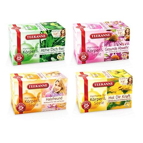 Teekanne Erkältungs Kräutertee Set - 4 verschiedene Sorten, die helfen Erkältungen schnell zu überstehen (4 x 20 Teebeutel)