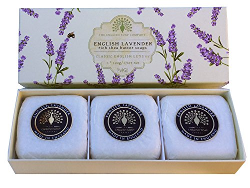 The English Soap Company English Lavender Gift Boxed Hand Soaps | Moisturising Bath Soap Gift Box For Hydrating Skin With Shea Butter | Soap For Dry Skin, Damaged Skin & Sensitive Skin | 3 x 100g
