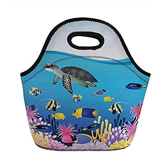 Walvis, Illustratie van Zee-Anemoon Schildpadden Goudvis Snorkel Tropische Zeegezicht Cartoon, Lichtblauw Geel, voor Kinderen Volwassen Thermische Tassen