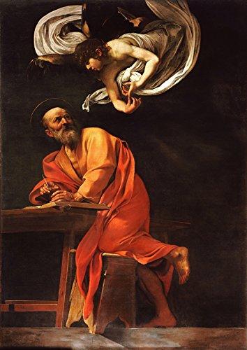 Michelangelo Merisi da Caravaggio: The Inspiration of Saint Matthew/Saint Matthew and The Angel. Fine Art Print/Poster. Size A4 (29.7cm x 21cm)