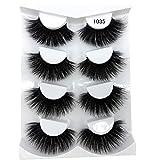 HBZGTLAD NEW 4 Pairs 3D Mink Hair False Eyelashes Criss-cross Wispy Cross Fluffy length 25mm Lashes Extension Handmade Eye Makeup Tools (1035)