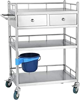 LHSUNTA Xfeng Mobile Double Stainless Steel Storage Trolley, Medical Cart Change Medicine Vehicle Instrument Four-Wheel Beauty Salon Clinic Trolley Rack (Size : M)