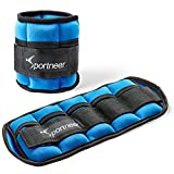Sportneer Adjustable Ankle Weights 1 Pair 2 4 6 8 10 13Lbs Arm Wrist Leg Weight Straps for Women Men Kids, Weighted Ankle Weights Set for Gym, Fitness, Workout (Blue, 5 lbs Each (10 lbs Pair))