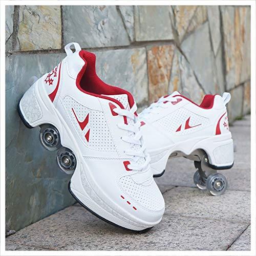 Zapatos de Senderismo Resistentes de Cuatro Ruedas Patines,Patines de Ruedas Deformados Multifuncionales,Patines de Ruedas Dobles,Zapatos de Tenis,for Adultos Niños,Plus Size 31-4343