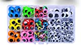 512pcs 6mm-20mm Wiggle Eyes Self-Adhesive for Craft Stickers, Black and Colorful Googly Ey...