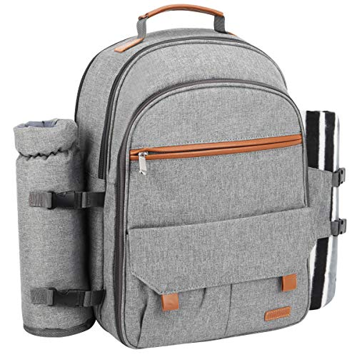 Sunflora Picnic Backpack for 4 Person Set Pack With Blanket & Insulated Waterproof Pouch For Family Outdoor Camping (Gray)