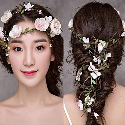 KFJBG Gefälschte Blume Manual Rose Flower Hair Wedding Headwear Decoration Girl Long Headband Party