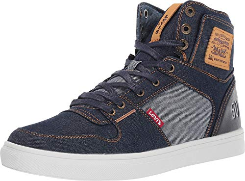 Levi's Mens Mason Hi 501 Fashion Denim Hightop Sneaker Shoe, Navy/Reverse, 12 M