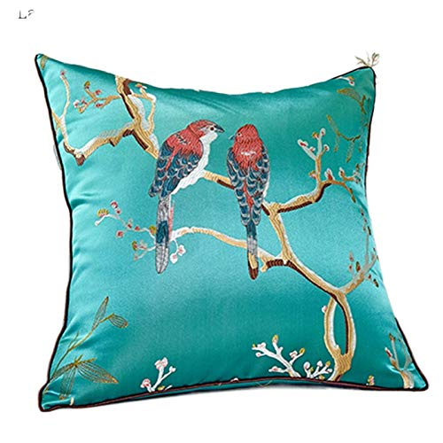JONJUMP Chinese Embroidered Decorative Cushions Flower Cushion Cover Sofa Cover Pillow 450mm*450mm