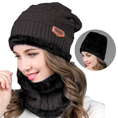Conjunto de gorro de inverno feminino masculino com laço de círculo, conjunto de cachecol de lã reversível forrado para neve, Cinza, One Size