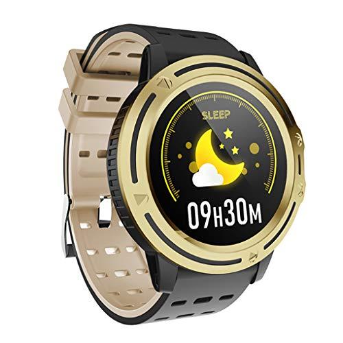 QFSLR Smartwatch, Rastreador De Ejercicios 1.3 Pulgadas IP67 A Prueba De Agua, con Función De Monitorización De La Presión Arterial del Sueño del Ritmo Cardíaco, Adecuado para iOS Android,Oro