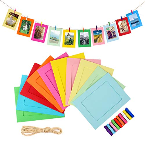 LEJHOME Paper Picture Frames, 30pcs Photo Frames for 4x6in Photo, Multi Color 30 Clothespins Hanging Photo Display Frames with 3 Ropes for Home, School and Office Decoration